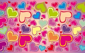 Picture hearts, hearts, love, colorful, love, rainbow, background, gradient