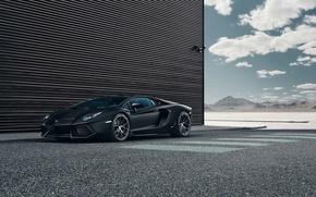 Picture Lamborghini, Black, LP700-4, Aventador, Performance, Supercar, Wheels, HRE