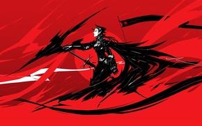 Picture girl, red, black, figure, sword, anime, flag, the demon, fantasy, art, horns, demon, red, girl, …