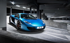 Picture McLaren, Blue, McLaren, Parking, Blue, Supercar, MP4-12C, Parking, Supercar