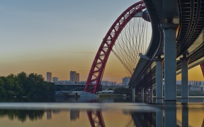 Picture summer, water, bridge, nature, river, Moscow, the evening, twilight