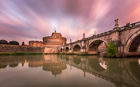 Picture bridge, river, castle, Rome, Italy