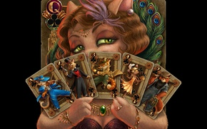 Picture cat, card, feathers, art, tracy j. butler, combination