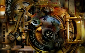 Picture abstract, antique, surreal, mechanical dream