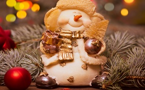 Picture decoration, tree, New Year, Christmas, snowman, Christmas, Xmas, decoration, Merry