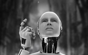 Wallpaper Android, robot, drop