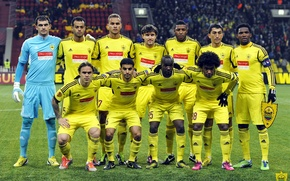 Picture people, lawn, football, club, yellow, face, team, captain, headband, form, composition, fans, stadium, players, fans, ...