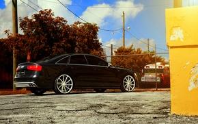 Picture Audi, black, vossen wheels, rearside