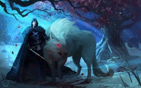 Picture tree, wolf, art, male, Ghost, Ghost, Game Of Thrones, Game of Thrones, Jon Snow, Jon ...