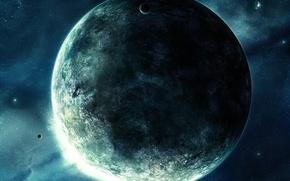 Wallpaper stars, the moon, Planet
