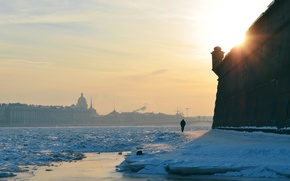 Wallpaper wall, winter, the city, Peter, fortress, the sun, river, snow, Saint Petersburg, Peter and Paul ...