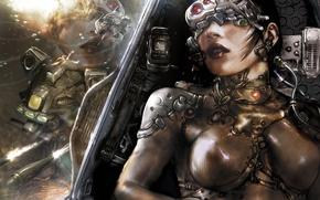 Picture girl, ship, armor, underwater, aquanox, clash
