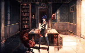 Picture room, books, art, the door, monitor, anime, mouse, girl, keyboard, skull, glasses, table, light, computer, ...