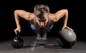 Picture workout, crossfit, pushups, Russian dumbbell