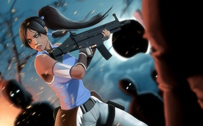 Picture girl, weapons, art, zombies, Avatar, The Last Airbender, Times