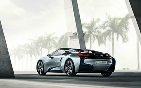 Picture road, palm trees, BMW, BMW i8 concept