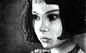 Wallpaper portrait, girl, look, Figure, Leon, actress, hair, Natalie Portman, black and white, Matilda, Leon, eyes