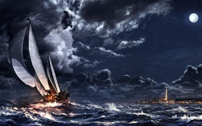 Picture clouds, storm, ship, art, spire, sailboat, the city, sea, the moon, night, clouds