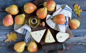 Picture autumn, leaves, oil, cheese, Board, fruit, still life, pear