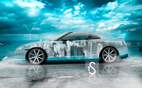 Picture The sky, Clouds, The city, Style, Nissan, Wallpaper, City, Nissan, GT-R, Car, Sky, Blue, Photoshop, …