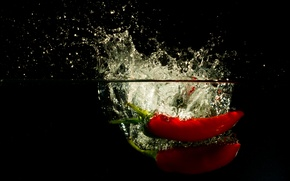 Picture water, squirt, food, splash, pepper, vegetables