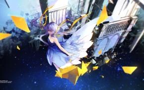 Wallpaper art, swd3e2, anime, castle, girl, flight, vocaloid, xingchen