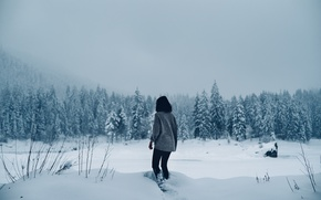 Picture lost, girl, winter, snowing