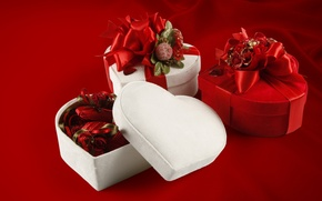 Picture heart, roses, gifts, love, box, heart, romantic, Valentine's Day, gift, roses