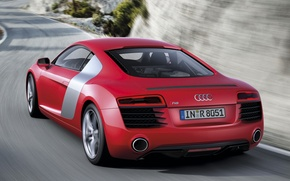 Picture road, red, rocks, Audi, Audi, supercar, rear view