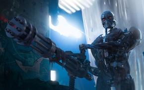 Picture fiction, cyborg, terminator, T-800, minigun