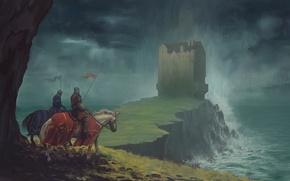 Picture sea, rock, castle, horse, art, bad weather, riders