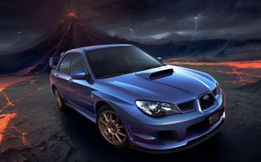 Wallpaper zipper, Auto, Subaru, Impreza, the volcano