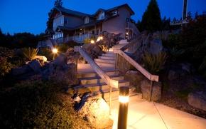 Picture night, lights, house, stones, lights, ladder, steps, mansion