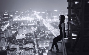 Picture roof, girl, night, the city, loneliness, sadness, height, Vietnam, loneliness, sadness