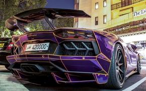 Picture Lamborghini, Street, Tron, LP700-4, Aventador, Back, Building, Parking, Supercar