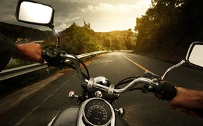 Picture Nature, The evening, Road, Turn, Markup, Wallpaper, Photo, Road, Drive, Motorcycle, Multi-Monitors, Biker, Full Throttle, ...