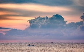 Picture twilight, sea, ocean, sunset, seascape, clouds, dusk, horizon, boat, fisherman, fisher boat