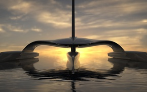 Picture sunset, Atlantic Ocean, solar power, sail across, Mayflower Autonomous Research Ship (MARS for short)