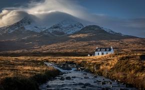 Picture river, mountains, clouds, Scotland, Sligachan