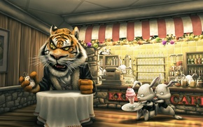 Wallpaper ice cream, ordering, watch, table, cafe, rabbits, tiger, the client, cash, late, the waiters
