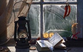 Picture pen, orange, dust, window, glasses, book, sill, keys, vintage, vintage, pepper, kerosene lamp