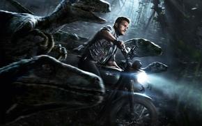 Wallpaper Action, Sci-Fi, Pistol, Woods, Chris Pratt, Wild, Guns, Nature, Film, Jurassic World, Amblin Entertainment, Weapons, ...