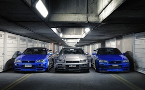 Picture nissan, silver, skyline, blue, gtr, front, view, r34