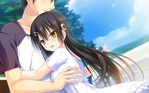 Picture anime, art, girl, guy, hugs, natsu no majo no parade