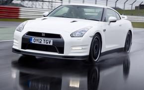 Picture Road, White, Machine, Nissan, Movement, Machine, Nissan, GT-R, Car, Race, Car, Cars, White, Cars, Road, …