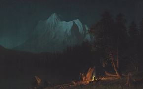 Picture landscape, mountains, night, picture, Albert Bierstadt, Mountain Landscape in the Moonlight
