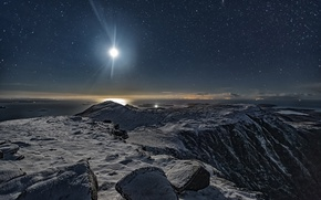 Picture the sky, the moon, mountain, stars, Scotland, Scotland, starry night, Ben More Coigach, The North-West …