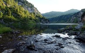 Picture landscape, mountains, nature, river, stones, Alps, Austrian
