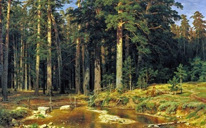 Picture forest, picture, Shishkin, Ship