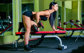 Wallpaper workout, dumbbells, sportswear, triceps